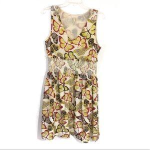 Fossil butterfly print silk sheath dress
